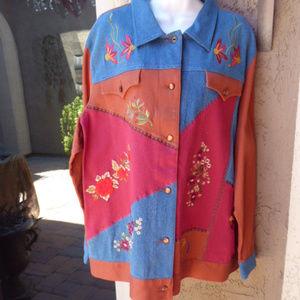 DIANE'S ESSENTIALS Denim Multi-Color Jacket 2X
